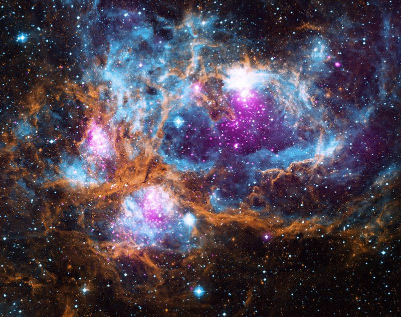 "Located in our galaxy about 5,500 light years from Earth, NGC 6357 is actually a ""cluster of clusters,"" containing at least three clusters of young stars, including many hot, massive, luminous stars."