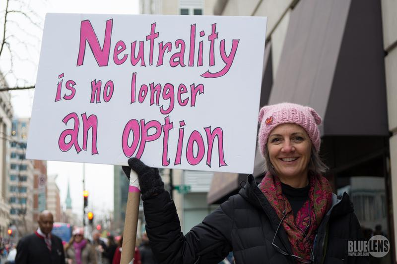 A woman holds a sign at the Women's March on January 21, 2017.