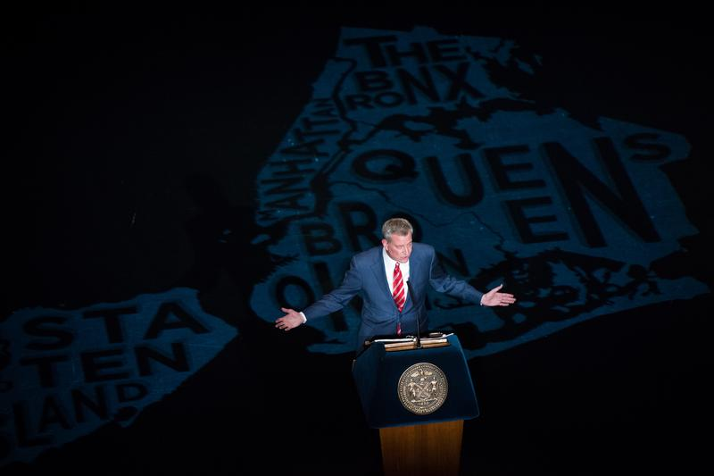 Mayor de Blasio alone on stage during the State of the City address.