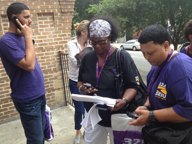 Members of SEIU 32BJ knock on doors on the Bronx, urging members to vote if they're elligible, and to still get involved if they're not.