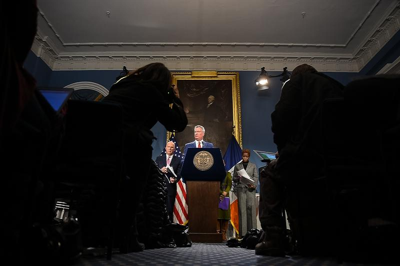 Mayor Bill de Blasio hosts a press conference in City Hall to discuss Trump's changes to the federal budget