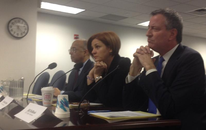 Democratic mayoral hopefuls Bill Thompson, Christine Quinn, and Bill de Blasio testified in support of the New York Attorney General's proposed regulations of outside campaign spending.