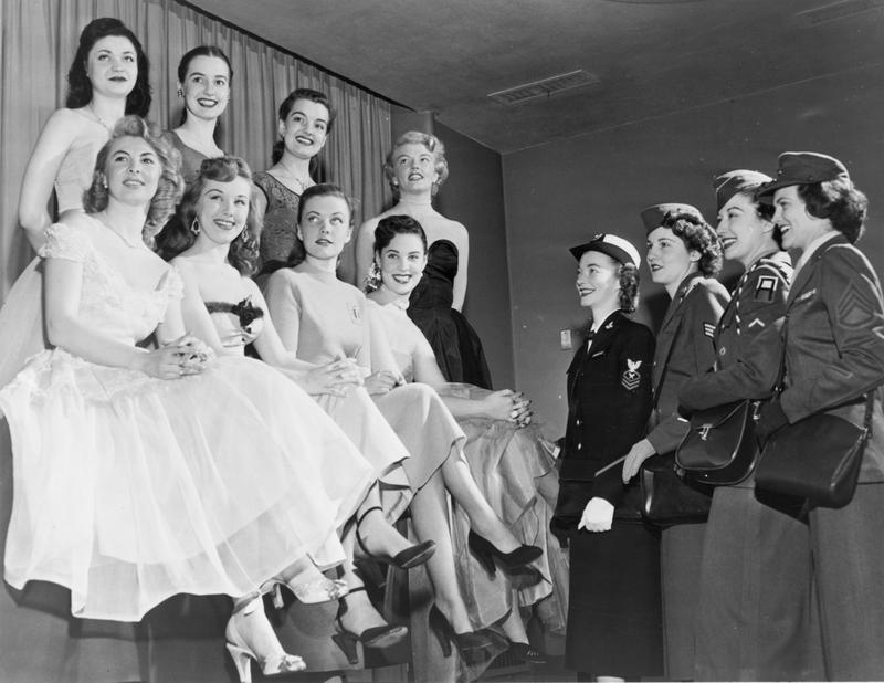 """Representatives of the armed forces picking """"Miss Armed Forces"""" in 1951."""
