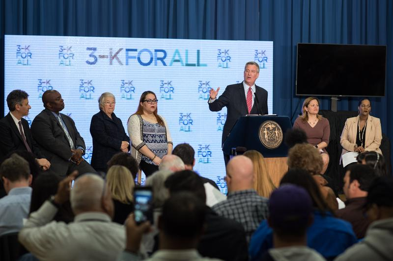 Mayor Bill de Blasio announces a plan to bring pre-k to 3-year-old children in New York City.
