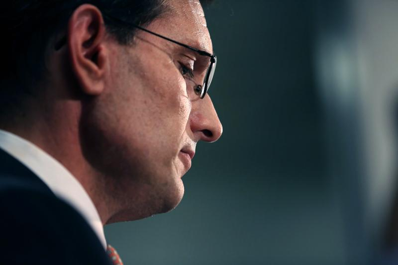 House Majority Leader Eric Cantor (R-VA) addresses a news conference after telling the Republican caucus that he will resign his post at the U.S. Capitol June 11, 2014 in Washington, DC.