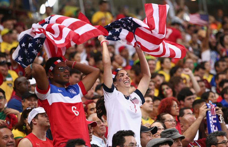 United States fans cheer during the 2014 FIFA World Cup Brazil Group G match between the United States and Portugal at Arena Amazonia on June 22, 2014 in Manaus, Brazil.