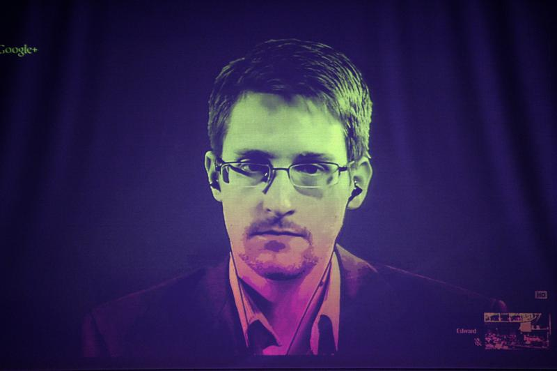 US National Security Agency (NSA) whistleblower Edward Snowden speaks to European officials via videoconference during a parliamentary hearing in Europe. June 24, 2014