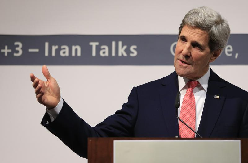US Secretary of State John Kerry delivers a speech during a press conference at the CICG (Centre International de Conferences Geneve) after talks over Iran's nuclear programme in Geneva. Nov. 24, 2013