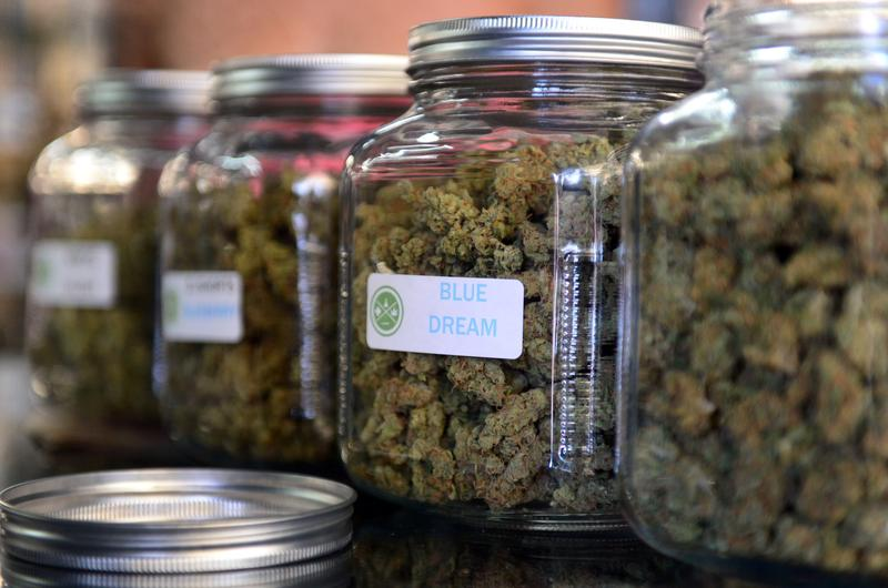 The highly-rated strain of medical marijuana 'Blue Dream' is displayed among others in glass jars at Los Angeles' first-ever cannabis farmer's market at the West Coast Collective. July 04, 2014