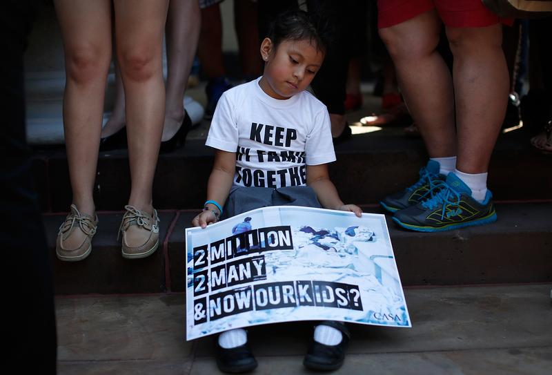 Heather Pia Ledezma, age 4 and from Mexico, during an immigration rally July 7, 2014 in Washington. Participants condemned the President's response to the child migrant crisis.