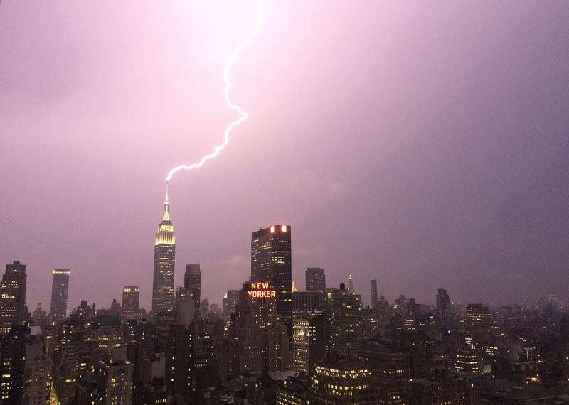Lightning strikes the Empire State Building July 15, 2014.