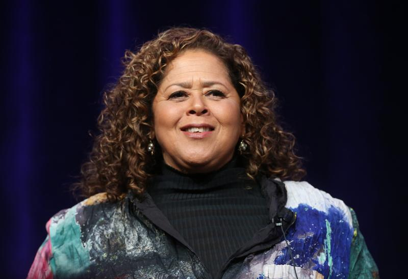 Actress/Playwright Anna Deavere Smith speaks onstage during the PBS Networks portion of the 2014 Summer Television Critics Association at The Beverly Hilton Hotel. July 23, 2014