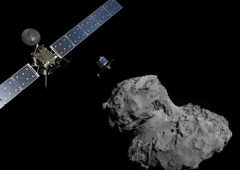 In this November 10, 2014 handout photo illustration provided by the European Space Agency (ESA) the Rosetta probe (L) and Philae lander are pictured above the 67P/Churyumov-Gerasimenko comet.