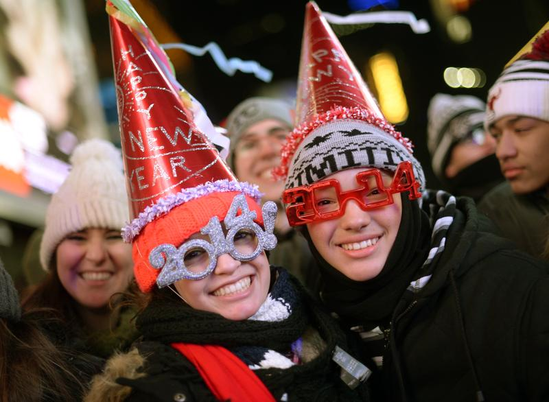 Thousands of revelers gather in New York's Times Square to celebrate the ball drop at the annual New Year's Eve celebration on December 31, 2013 in New York.