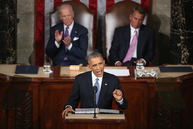 President Barack Obama delivers the State of the Union speech before members of Congress in the House chamber of the U.S. Capitol January 20, 2015 in Washington, DC.