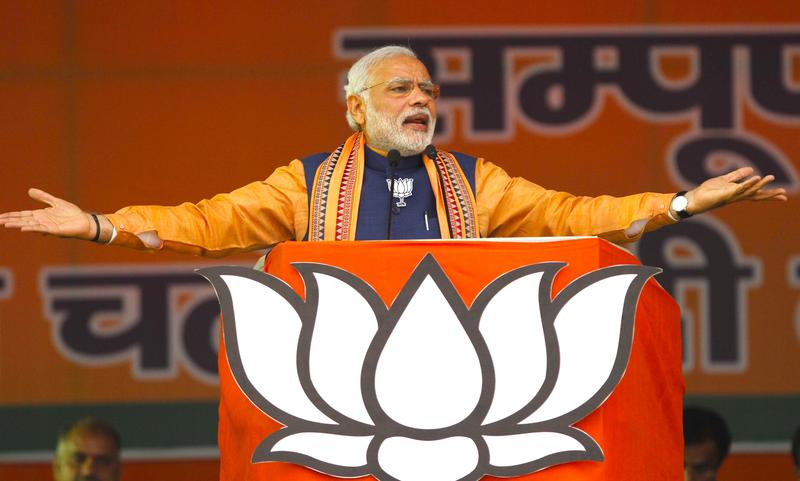 Prime Minister Narendra Modi during an election campaign rally at Dwarka on February 1, 2015 in New Delhi, India.