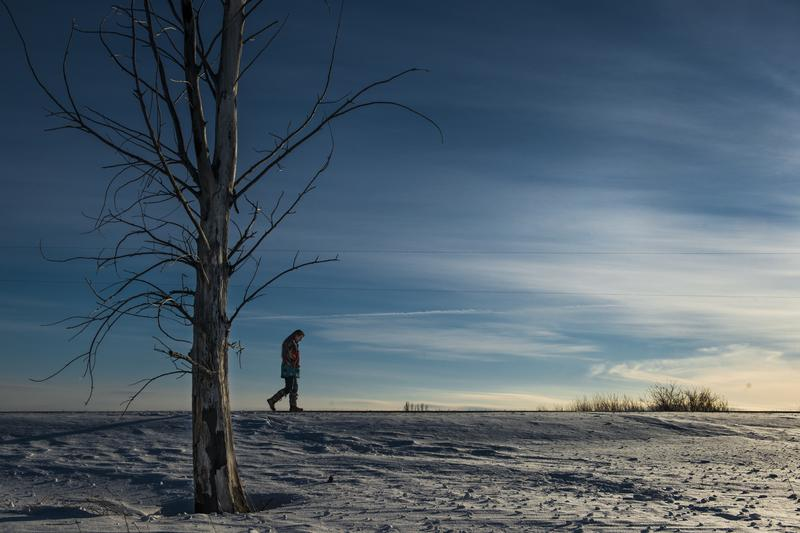 A member of the White Earth Indian Reservation in near Mahnomen, MN on February 4, 2014.