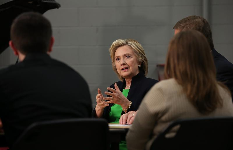 Democratic presidential hopeful and former Secretary of State Hillary Clinton speaks during a roundtable discussion at the Kirkwood Community College Jones County Regional Center in Monticello, Iowa.