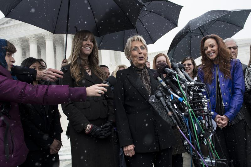 Barbara Green, co-founder of Hobby Lobby, speaks to press outside the Supreme Court.