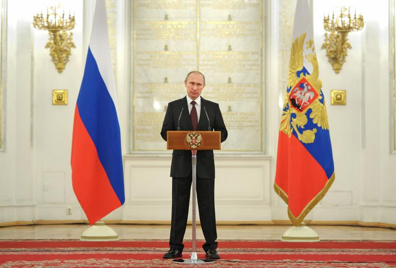 Russia's President Vladimir Putin speaks about the recent takeover by Moscow of Crimea from Ukraine.