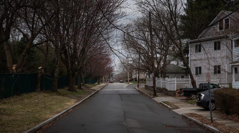 Laurel Street, where one year ago, a shoot out occured between police forces and the alleged Boston bombers Dzhokhar Tsarnaev and Tamerlan Tsarnaev, is seen on April 13, 2014 in Watertown, MA.