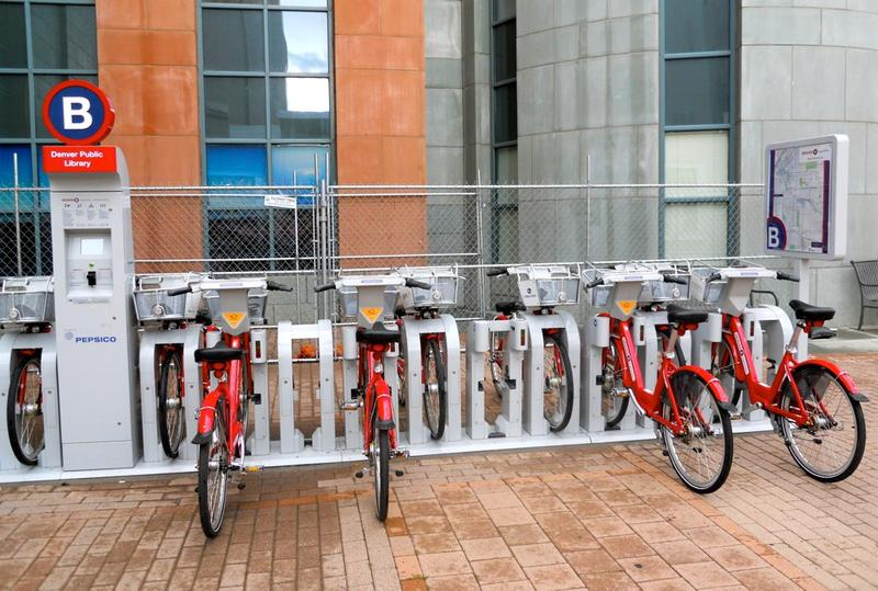 A bike share station in Denver