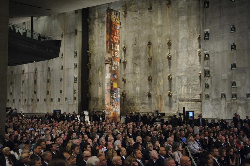 People attend the opening ceremony for the National September 11 Memorial Museum at ground zero May 15, 2014 in New York City.
