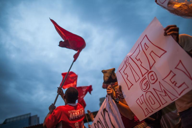 About 25,000 members of the 'Homeless Workers Movement' held large demonstrations to claim their right to housing on May 22, 2014 in Sao Paulo, Brazil.