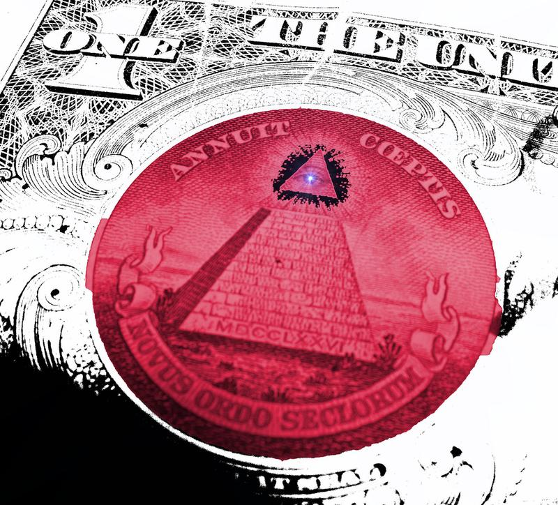 The floating eye over an unfinished pyramid, pictured here on a U.S. $1 bill, is often viewed as a symbol of the 'illuminati' conspiracy theory.