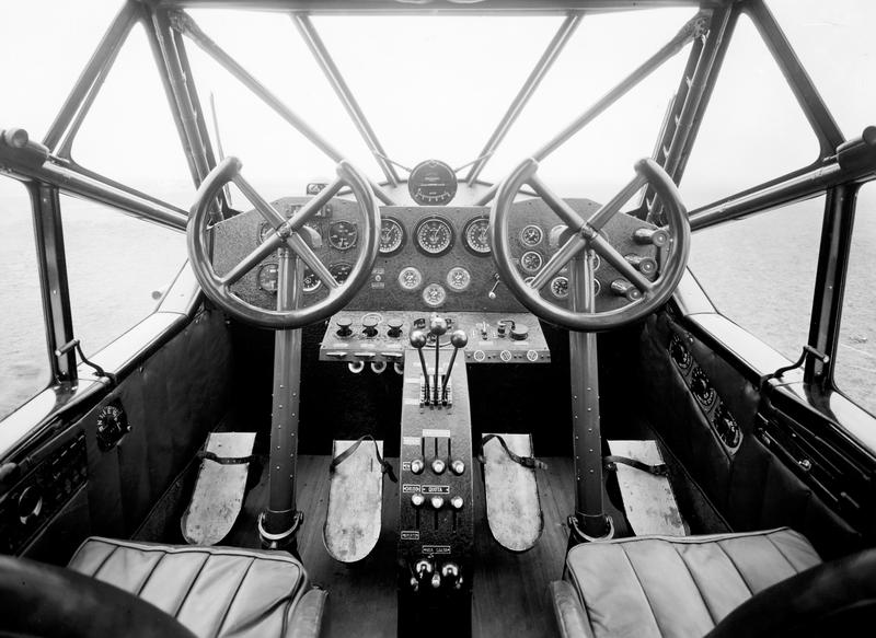 Cockpit of an airplane. Italy 1920-30.