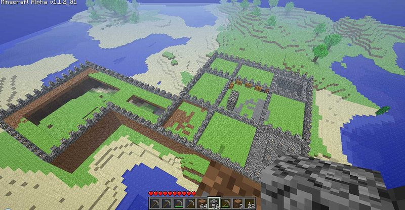 An aerial view of a Minecraft castle.