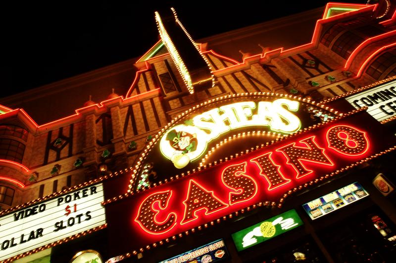 LAS VEGAS - SEPTEMBER 17: The facade of a Casino is seen at night on Las Vegas Boulevard on September 17 in Las Vegas.