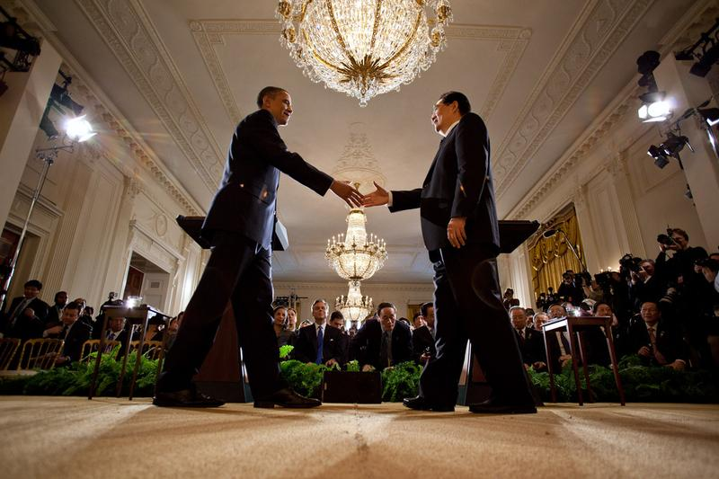 President Barack Obama and President Hu Jintao of China shake hands at the conclusion of their joint press conference in the East Room of the White House, Jan. 19, 2011.