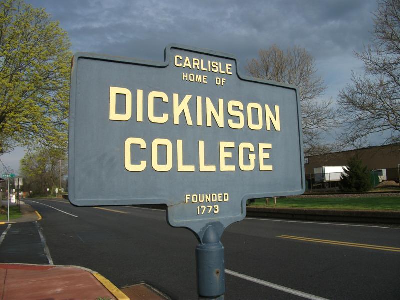 A sign for Dickinson College in Carlisle, Pennsylvania.