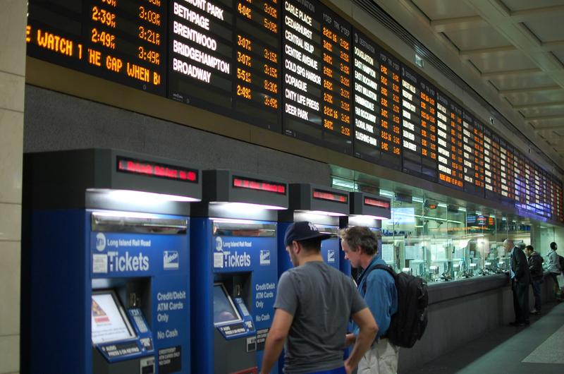 LIRR passengers buying tickets at Penn Station