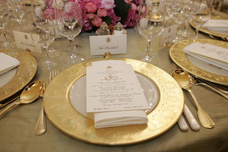 The State Dining Room at the White House is shown prepared for a dinner being held in honor of Australian Prime Minister John Howard May 16, 2006 in Washington, DC.