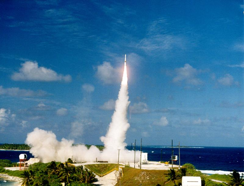 A prototype interceptor is launched from the Kwajalein Missile Range December 3, 2001 in Hawaii.