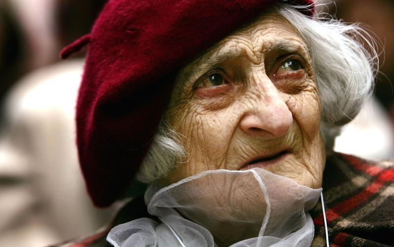 Annie Karakaian, 101, a survivor of mass killings of Armenians in what was then the Ottoman Empire in 1915, attends a rally in Times Square marking the 90th anniversary April 24, 2005 in New York Cit