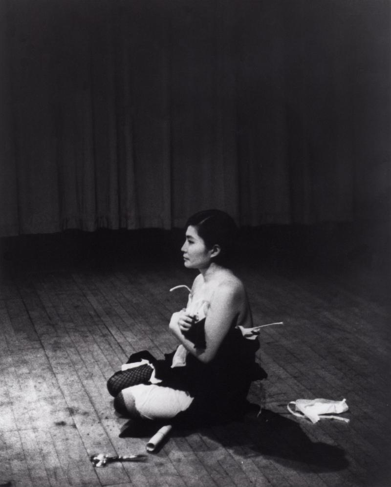 Cut Piece (1964) performed by Yoko Ono in New Works of Yoko Ono, Carnegie Recital Hall, New York, March 21, 1965.