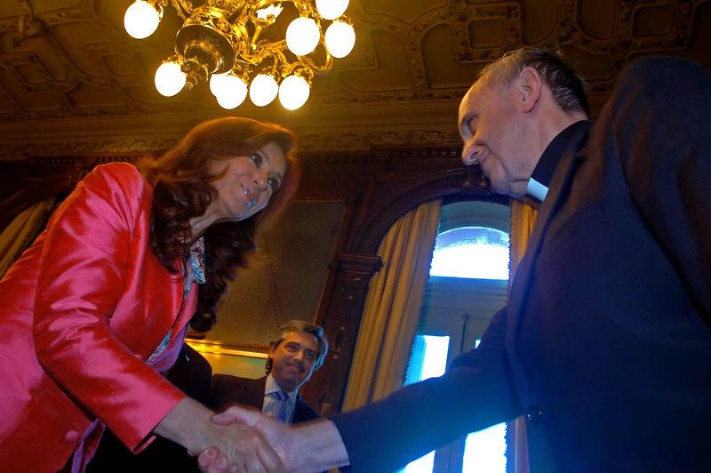 Pope Francis, then Archbishop Jorge Mario Bergoglio of Buenos Aires, with President Cristina Fernández de Kirchner of Argentina.