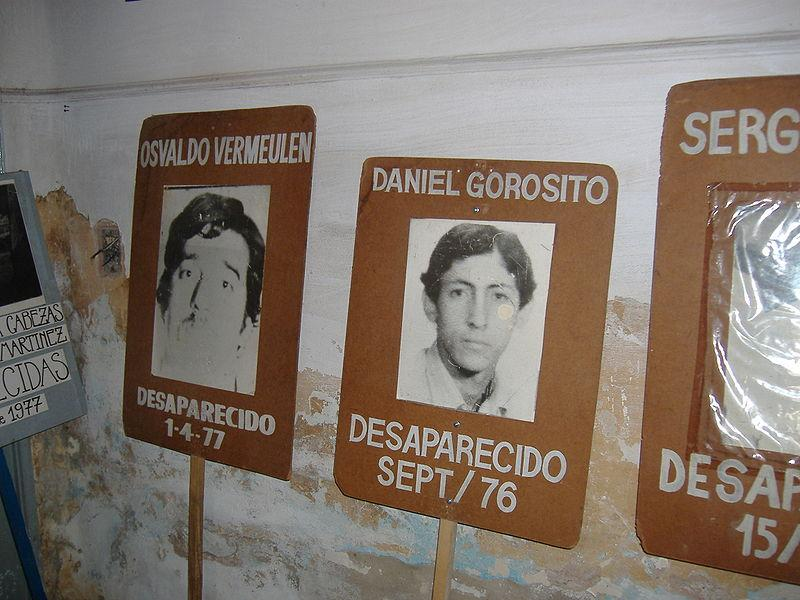 Pictures and newspaper clips of 'desaparecidos' (victims of forced disappearance) in a former illegal detention center in Rosario, Argentina.