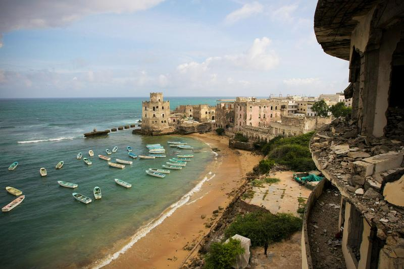 A view of the fishing harbor in Mogadishu, Somalia. A semblance of normal daily life is returning to the now busy streets as businesses and neighborhoods begin to rebuild. June 2012