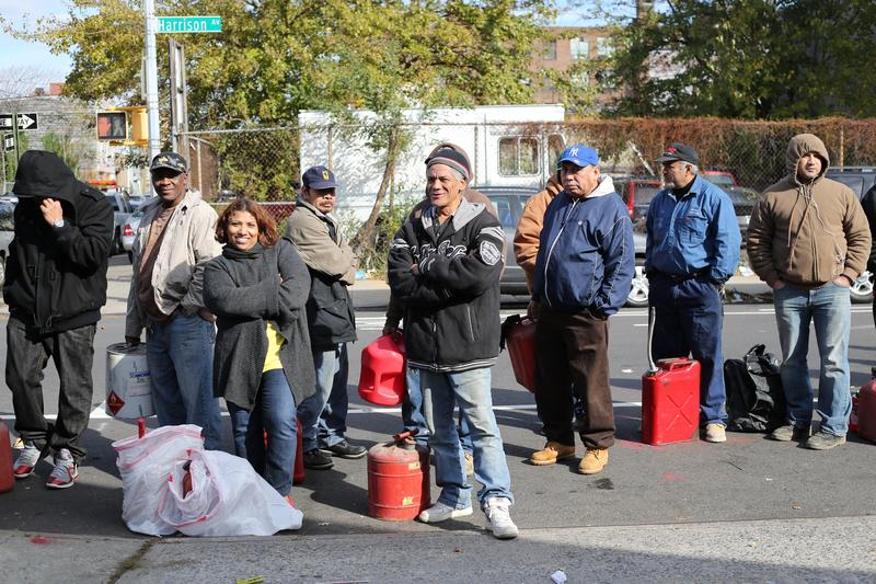 A gas line in Williamsburg, Brooklyn, in the days following Sandy