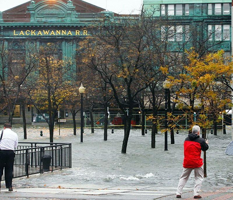 The Hudson River breaching the Hoboken waterfront