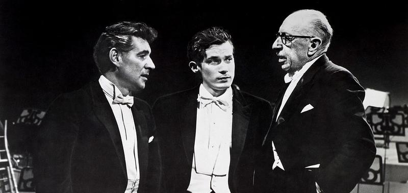 Leonard Bernstein (left) and Glenn Gould listen to Igor Stravinsky during a rehearsal for the New York Philharmonic Orchestra, circa 1960s
