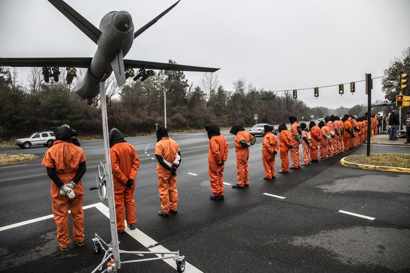 "A 2013 protest by the group ""Witness Against Torture"" outside CIA headquarters in Langley, Virginia."