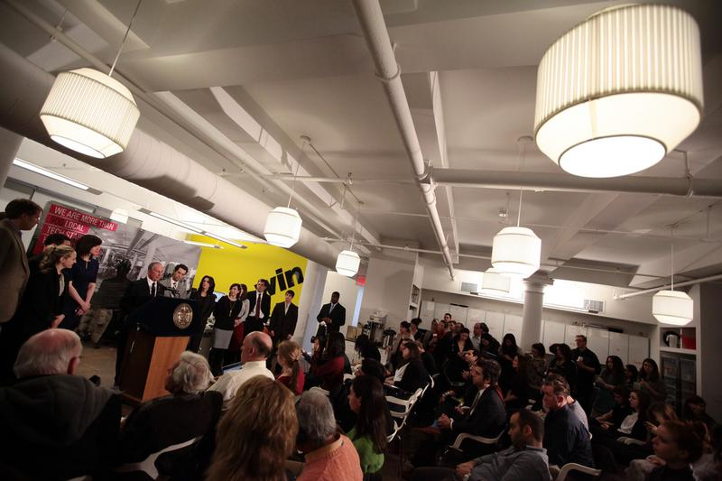 Mayor Michael Bloomberg announces the city's new tech marketing campaign at the Buzzfeed offices in Manhattan.