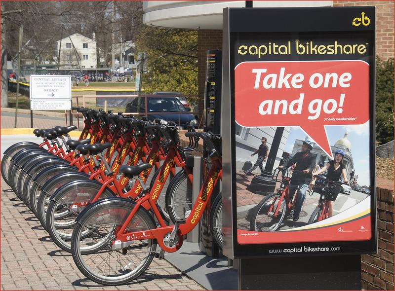 Capital Bikeshare at the Central Library in Arlington County, VA. April 2013