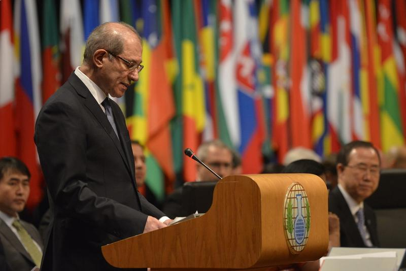 OPCW Director-General Ahmet Üzümcü makes his opening statement at the Third Review Conference of the States Parties of the Chemical Weapons Convention. April 2013