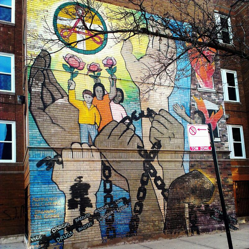 """""""Breaking The Chains"""" mural."""